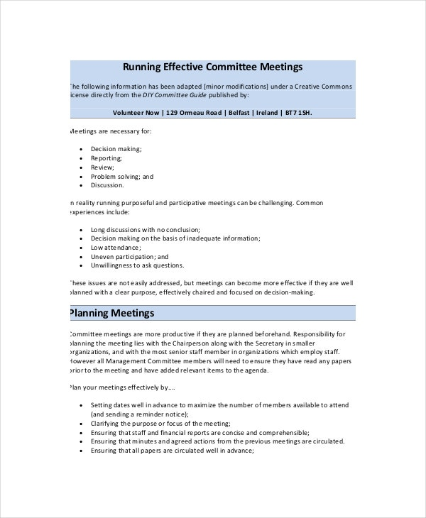 effective meeting agenda template  u2013 10  free word  pdf