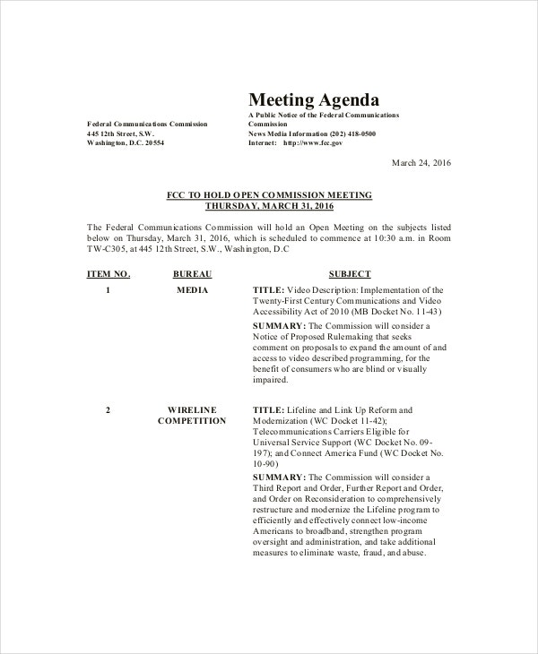Family Meeting Agenda Template 8 Free Word Pdf