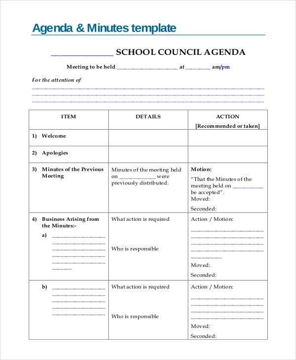 Agenda Based Minutes Template  Business Meeting Minutes Template Word