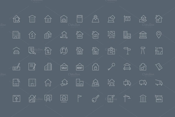 90 Real Estate Icons Set