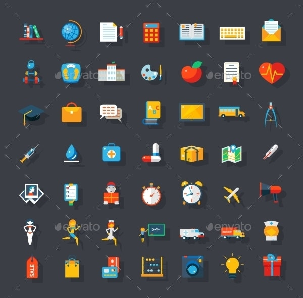 Big Flat Icons Set Trendy Vector Isolated