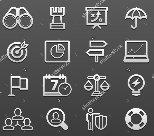 Black Background Bussiness Strategy Icon Set