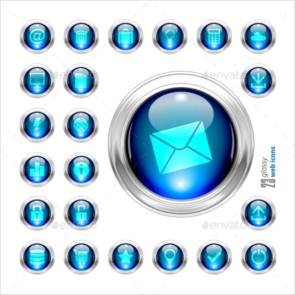 Blue Set of Glossy Vector Button Icons Set