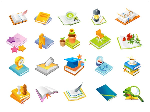 book series one of the icon vector graphic set