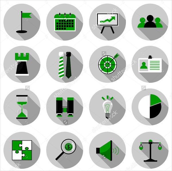 Business & Strategy Flat Icon Set Vector Illustration