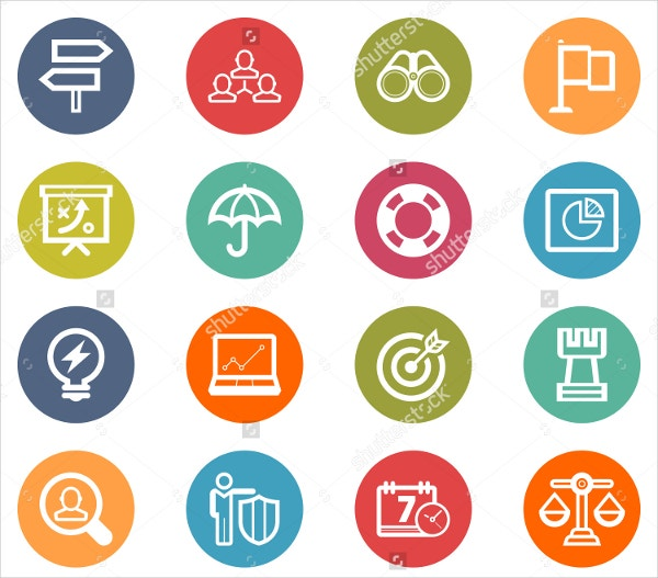 Bussiness Strategy Icon Set Colorful