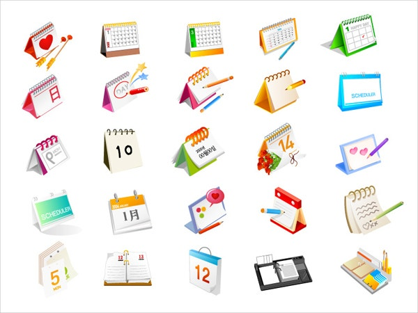 calendar vector graphic icons set