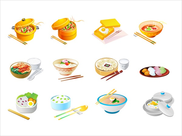 Chinese Food Vector Icons Set