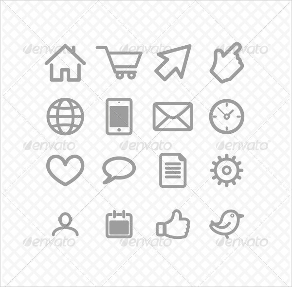 Communications Set Icons Grey