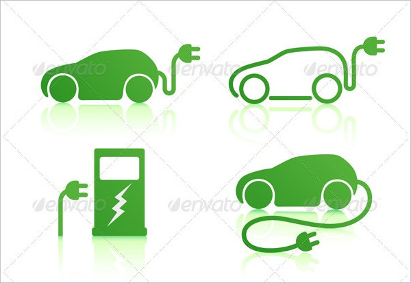 Electric Powered Car and Charging Point Icons Set