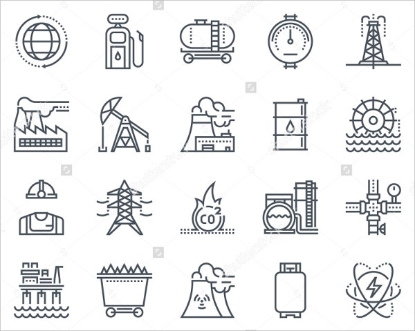 energy industry icon set suitable for print media