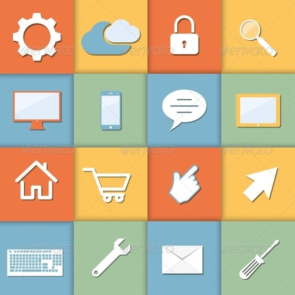 Flat Icons Set on Colored Background Premium