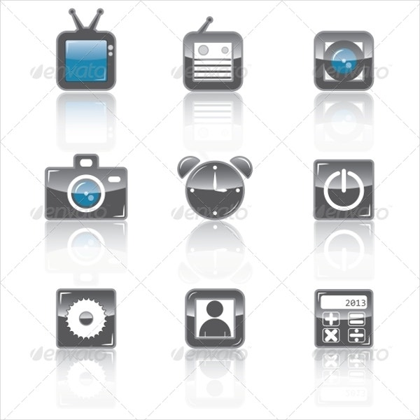 Media Brilliant Icons for Apps Set