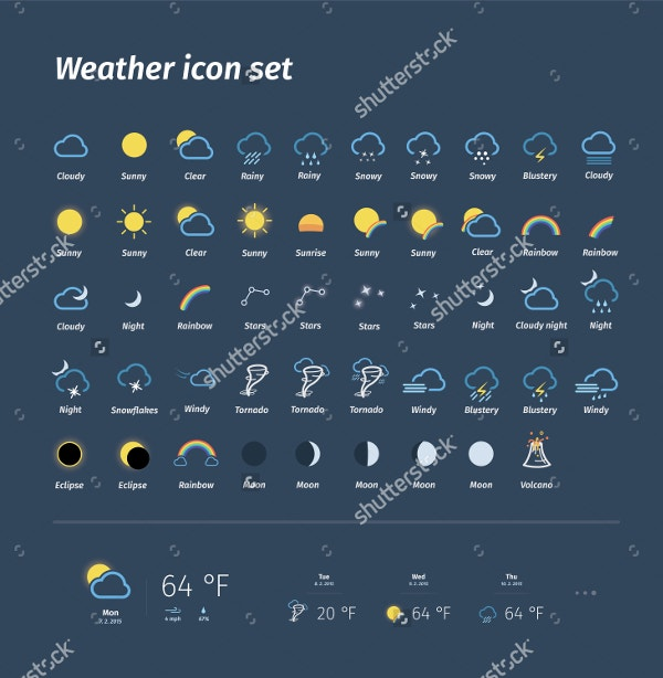 Mega Pack of Weather Icons Set