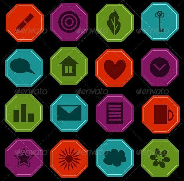 Octagon Icons Set
