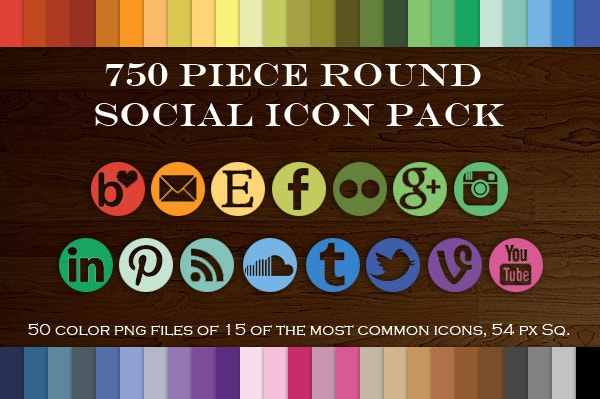 Piece Round Mask Social Icon Set
