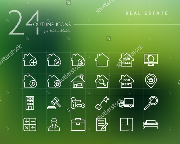 Real Estate & Property Outline Icons Set