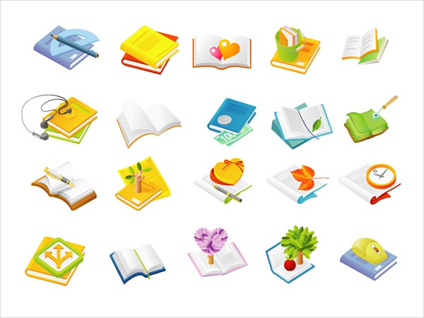 Search Book Series Icon Vector Graphic Set