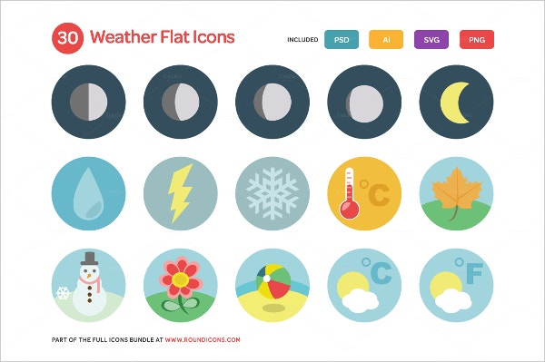 Weather Flat Icons Set Bundle