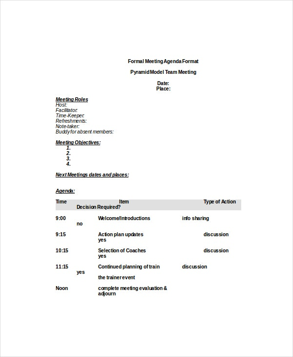 Formal Meeting Agenda Template – 7+ Free Word, PDF Documents ...