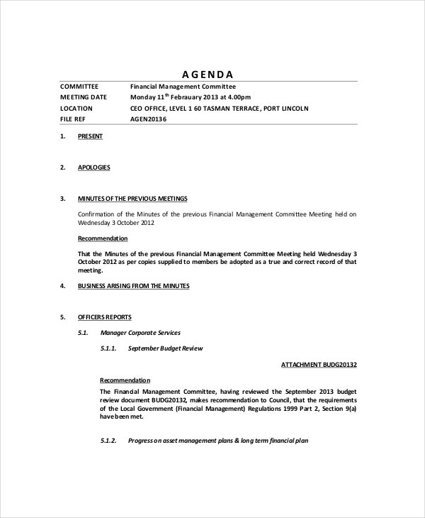 Financial Management Meeting Agenda Template  Agenda Template Meeting