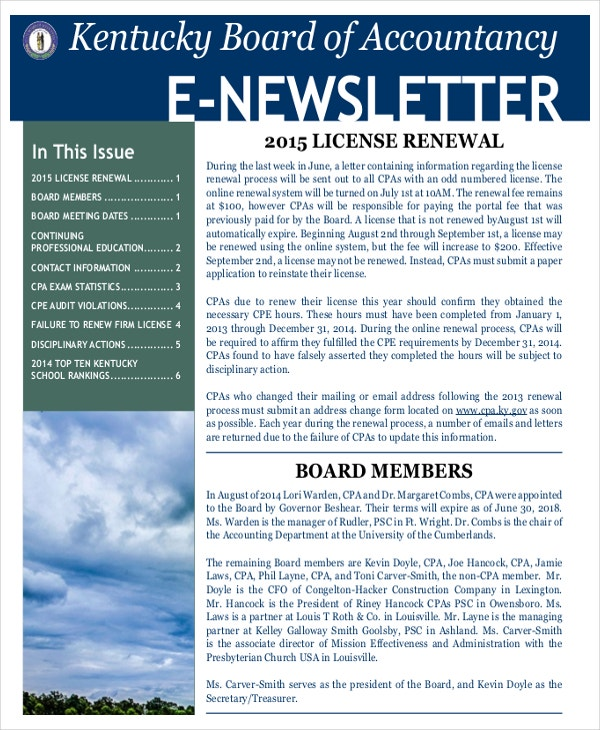 Newsletter Template   Free Word Pdf Documents Download  Free
