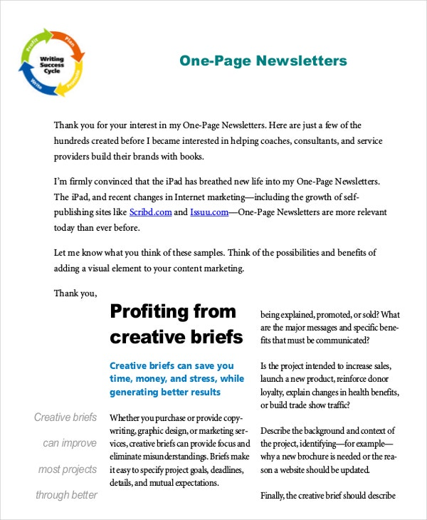 One Page Newsletter Template