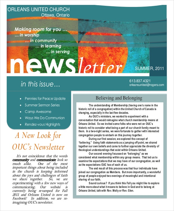 summer newsletter template