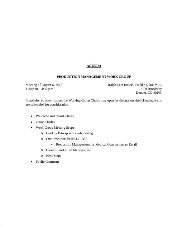production management meeting agenda template