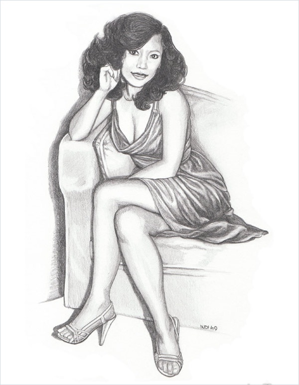 Custom Beautiful Lady Pencil Portrait Fine Art