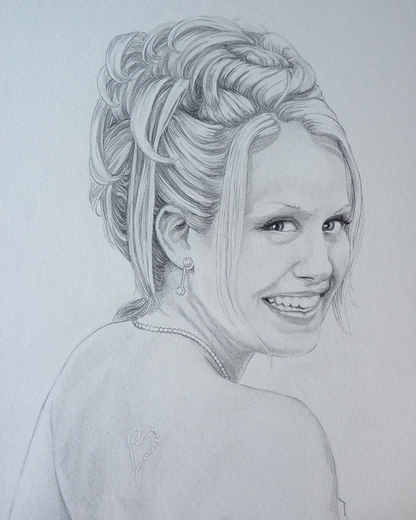 custom lady pencil portrait from photos
