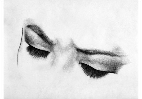 fine art print of black white eyes
