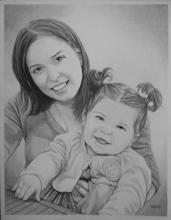 Mother Baby Pencil Fine Art Design