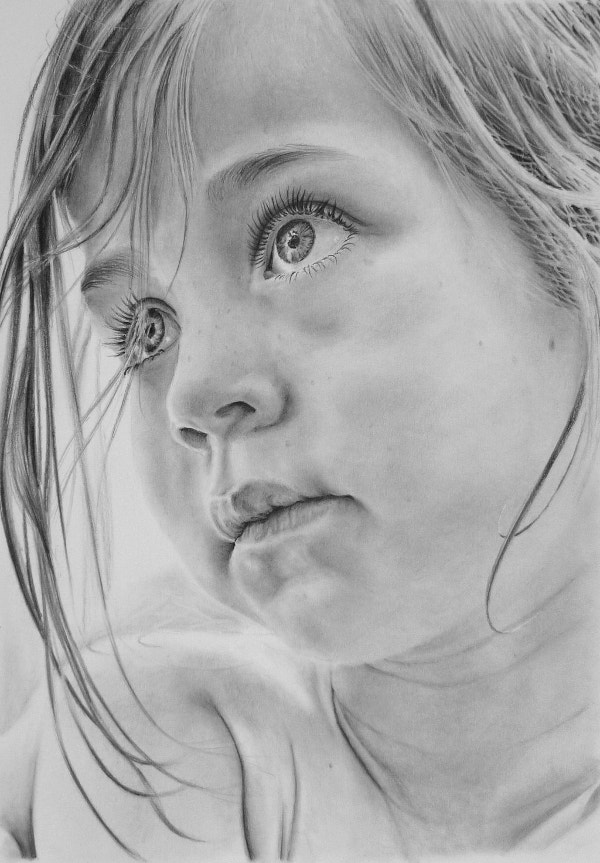 Pencil Portrait of a Young Girl Fine Art