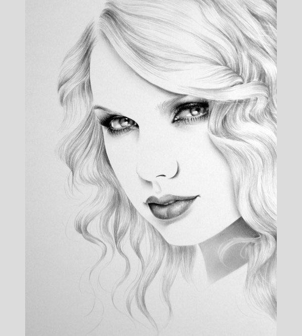 Taylor swift pencil drawing fine art