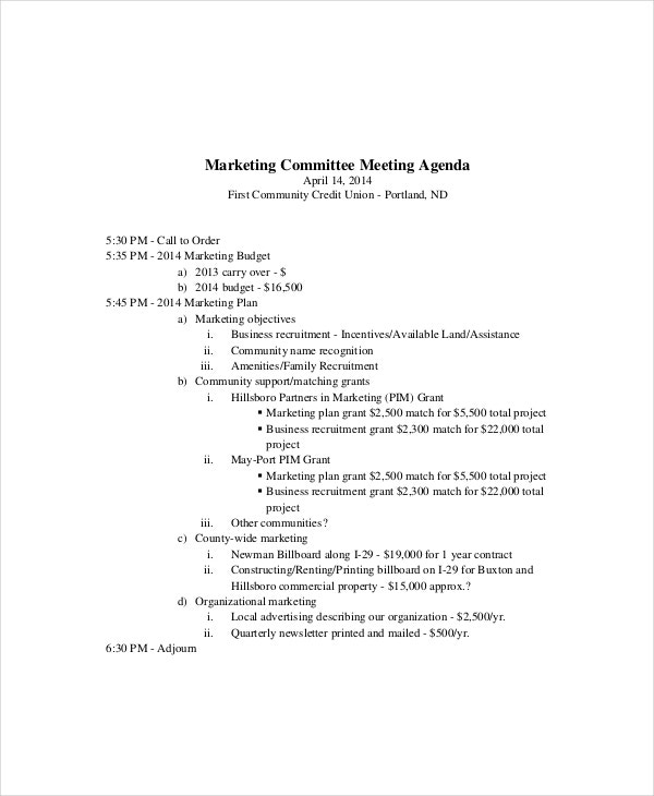 marketing meeting agenda template  u2013 8  free word  pdf documents download