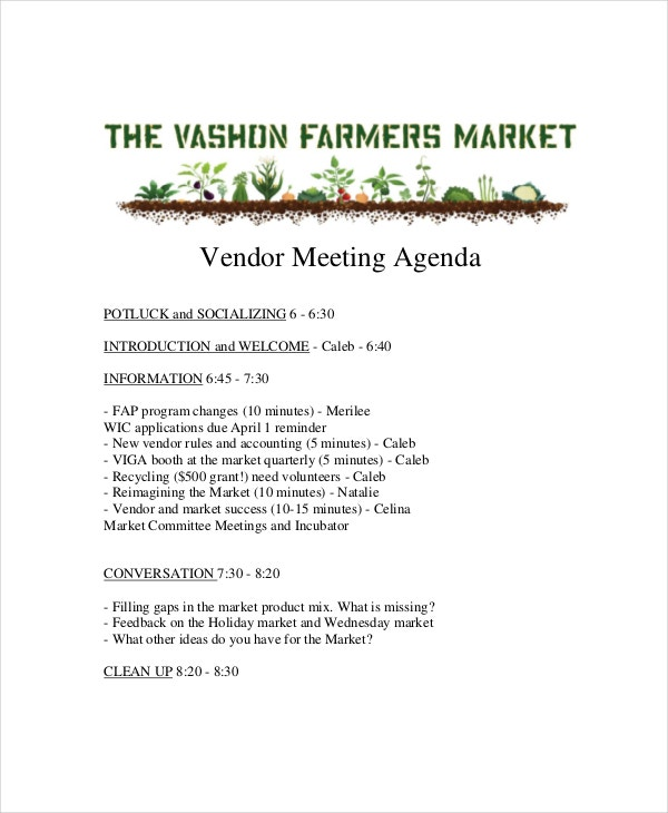 marketing vendor meeting agenda template