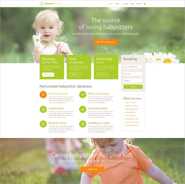 Baby Sitter Directory WordPress Theme $75