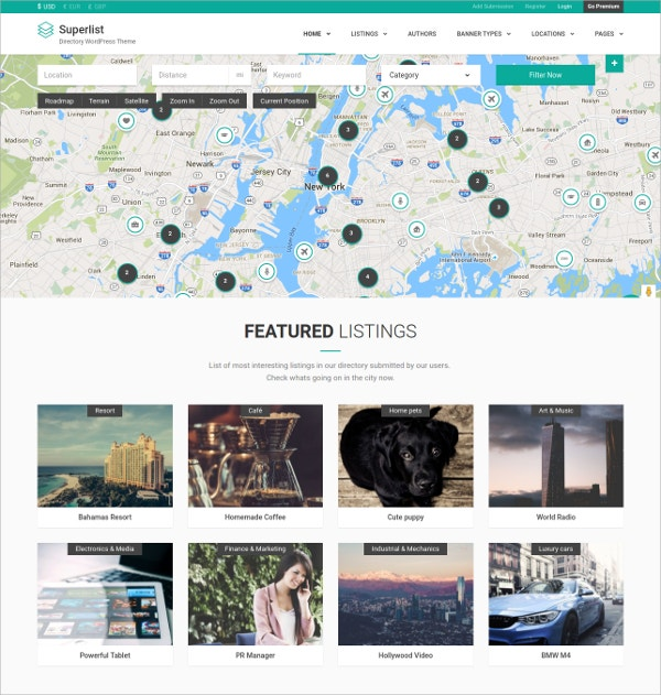 Business Directory WordPress Theme $49