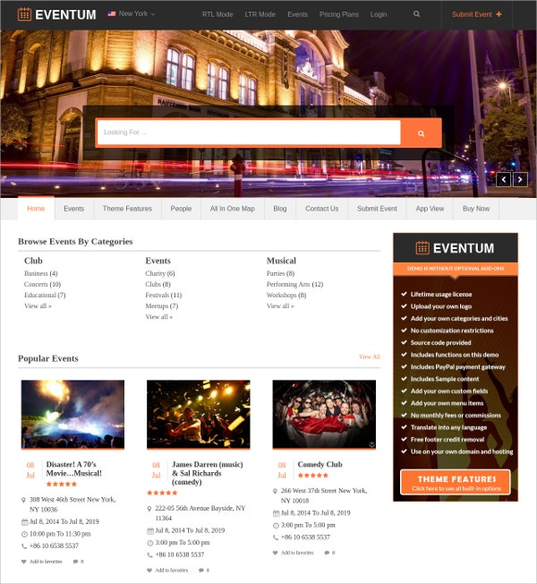 Events Directory WordPress Theme $45