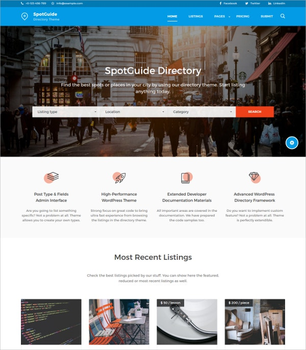 High Performance Directory WordPress Theme $49