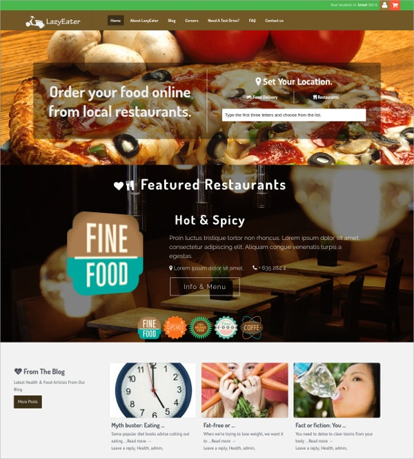 Restaurant Online Food Ordering WP Theme $79