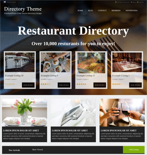 Design Directory WordPress Theme $79