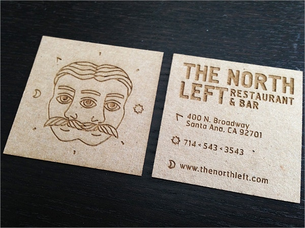 engraved business card for restaurant