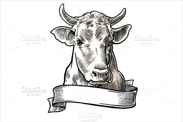 vector cows head drawing
