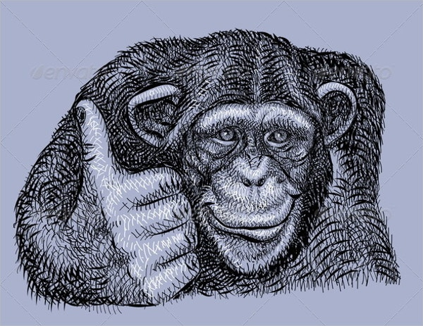 Artistic Chimpanzee Drawing