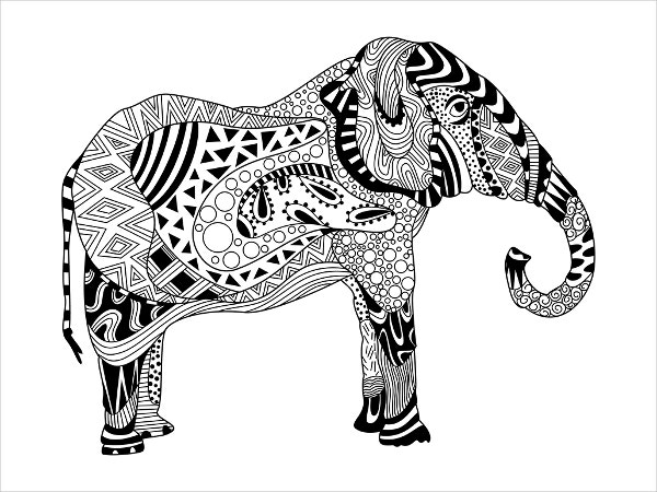 Zentangle Elephant Drawing