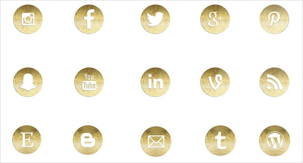 Gold Social Media Buttons