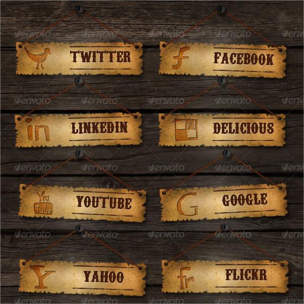 grunge social media buttons