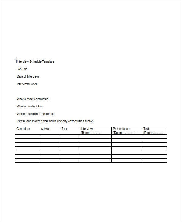 Interview Schedule Template 8 Free Word PDF Documents – Sample Interview Schedule Template